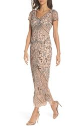 Pisarro Nights Beaded Mesh Column Gown