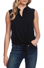 Vince Camuto Sleeveless Tie Front Cotton Eyelet Bl