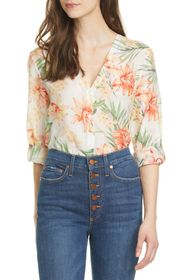 Alice + Olivia Colby Floral Print Cotton & Silk Bl