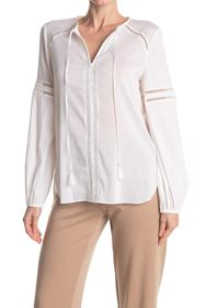 Elie Tahari Bayley Tie Neck Lattice Panel Blouse