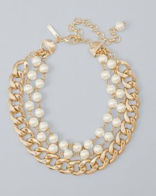 Goldtone & Faux Pearl Convertible Statement Neckla