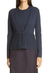 BOSS Faly Ribbed Peplum Wool Blend Cardigan