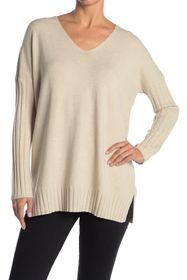 French Connection V-Neck Ribbed Sleeve Sweater