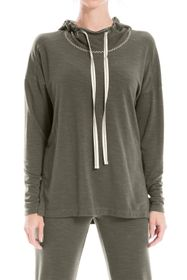 Max Studio Hooded French Terry Pullover