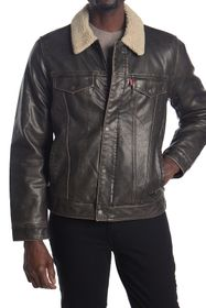Levi's Faux Leather & Faux Shearling Collared Truc