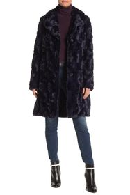Nine West Faux Fur Notch Collar Coat