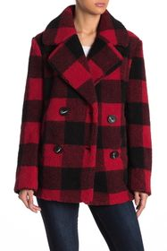 French Connection Faux Fur Buffalo Plaid Print Not