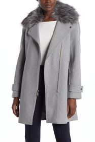 Nine West Faux Fur Trim Asymmetrical Zip Coat