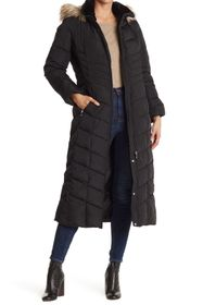 Calvin Klein Faux Fur Trimmed Quilted Maxi Puffer
