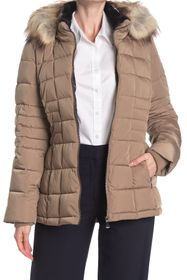Calvin Klein Faux Fur Trimmed Quilted Puffer Jacke