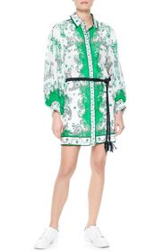 Alice + Olivia Oralia Belted Long Sleeve Silk Blen