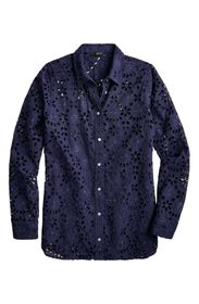 J. Crew Embroidered Eyelet Long Sleeve Button-Up S