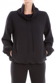 Max Studio Funnel Neck Waffle Knit Pullover