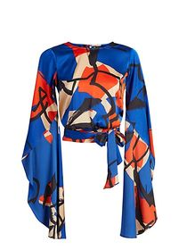 Drama-Sleeve Abstract Print Top - New York & Compa
