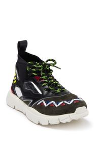 Valentino Geo Design Leather Overlay Mesh Sneaker