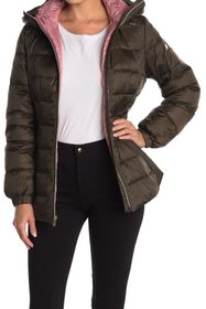 kate spade new york hooded mid-weight zip down puf