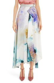 Roksanda Watercolor Print Silk Maxi Skirt