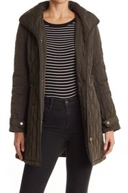 Donna Karan Hooded Belted Waist Quilted Jacket