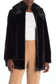 Nine West Faux Fur Collar Plush Fleece Coat