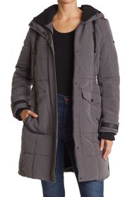 Lucky Brand Quilted Hooded Long Parka Jacket