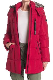 Nautica Faux Fur Trim Hooded Puffer Jacket