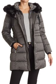 Tahari Faux Fur Trim Hooded Bib Zip Puffer Jacket