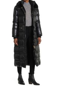 Donna Karan Long Faux Fur Hooded Puffer Jacket