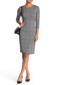 T Tahari Houndstooth Plaid 3/4 Sleeve Ponte Sheath