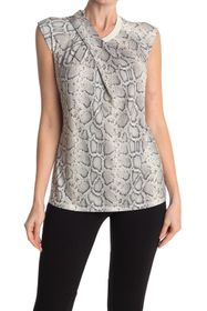 Elie Tahari Kourtney Crossover Cap Sleeve Snake Pr