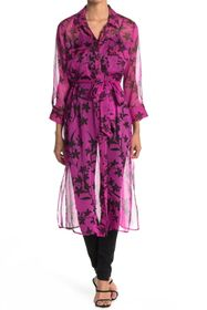Vince Camuto Iris Button Front Chiffon Duster