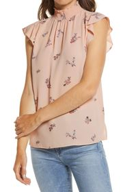 Vince Camuto Floral Smocked Mock Neck Ruffle Cap S