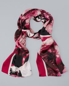Silk Rose Photo-Print Oblong Scarf