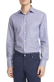 Z Zegna Extra Slim Fit Stripe Stretch Button-Up Sh