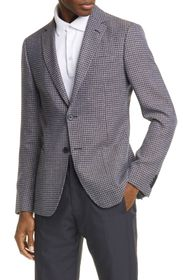 Z Zegna Trim Fit Houndstooth Wool & Linen Sport Co