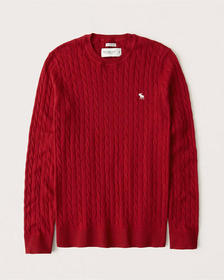Cotton-Cashmere Cable Knit Icon Sweater, RED