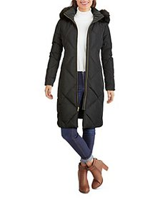 Cole Haan - Hooded Faux Fur Trim Coat