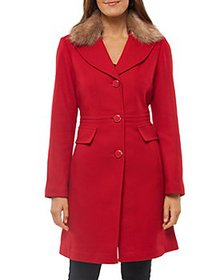 kate spade new york - Faux Fur Collar Coat
