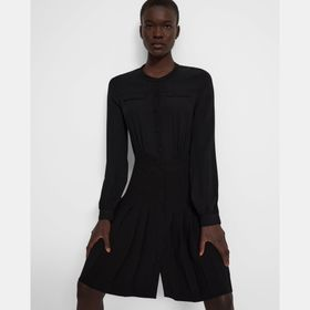 Pleated Button-Front Dress in Crepe