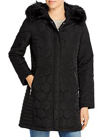 Calvin Klein - Faux Fur Trim Hooded Quilted Coat