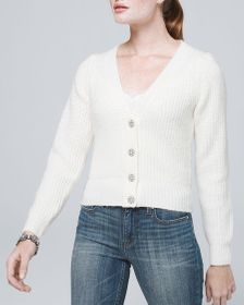 Embellished Cardigan with Puff Sleeves