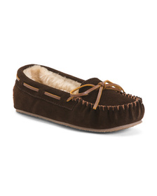 MINNETONKA Suede Moccasin Slippers (Little Kid, Bi