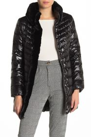 Karl Lagerfeld Faux Fur Collar Quilted Puffer Jack