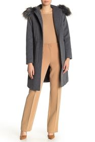 Karl Lagerfeld Removable Faux Fur Trimmed Hooded C