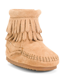 MINNETONKA Double Fringe Suede Booties (Infants)