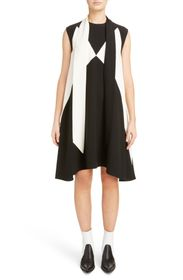 Givenchy Colorblock Tie Neck Shift Dress