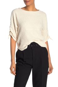 Max Studio Striped Ruched Elbow Sleeve Top
