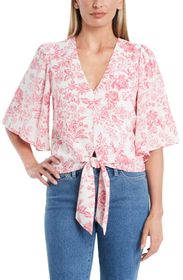 1.State Flounce Sleeve Tie Front Top