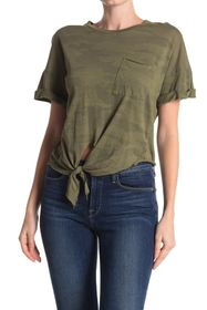 NSF CLOTHING Arlene Front Tie Camo Pocket Tee