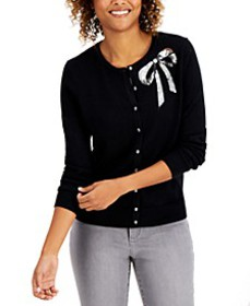 Sequined-Bow Button Cardigan, Created for Macy's