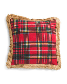 20x20 Faux Fur Trimmed Plaid Pillow